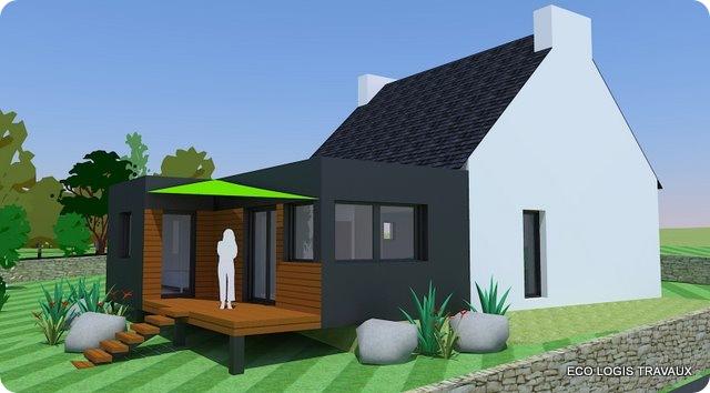 Sehr Agrandissement avec toit plat - Eco Logis Travaux SC75