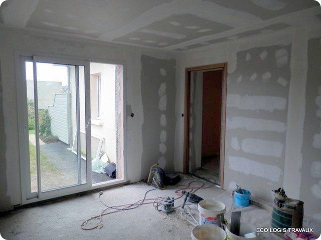 blog travaux extension à toit plat de style moderne à Quimper - plaquiste - menuisier