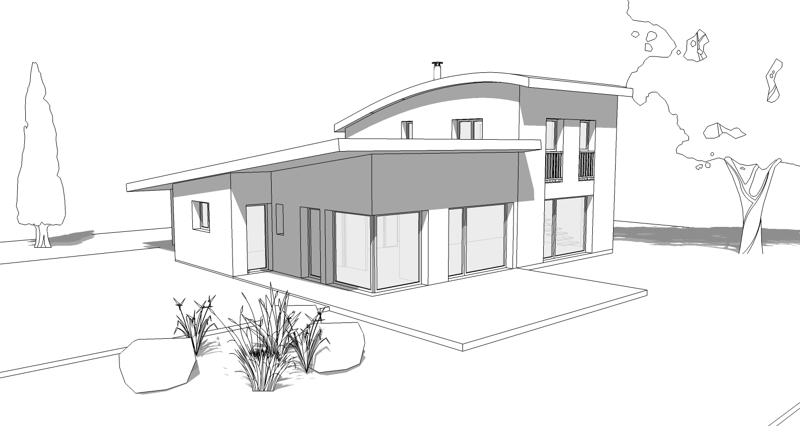 Plan de maison moderne toit zinc -VIDEO