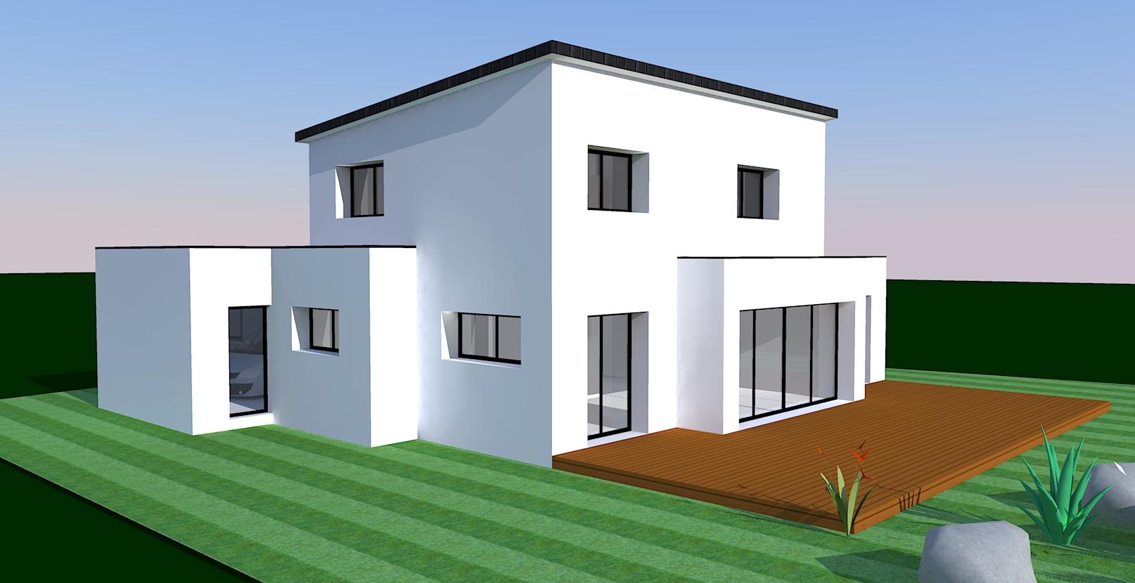 Construction d 39 une maison moderne dans le finist re eco for Modelisation maison 3d